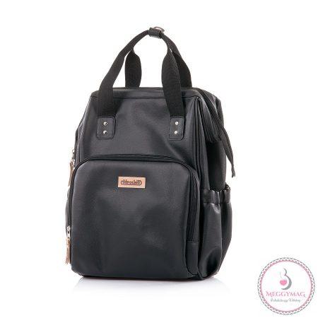 Chipolino babakocsira rögzíthető hátizsák, pelenkázó táska - Black Leather 2018