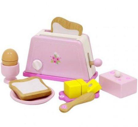 Fa játék kenyérpirító tartozékokkal (rózsaszín)