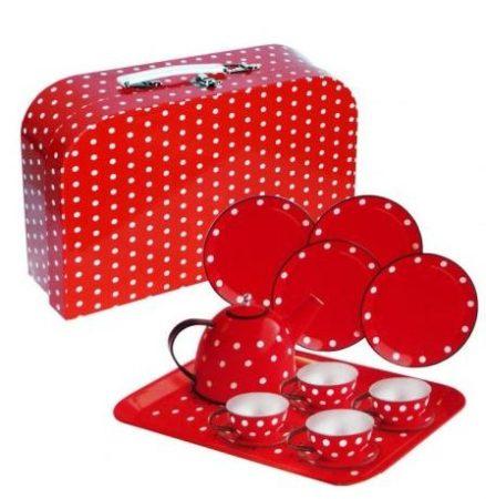 15 db-os fém teáskészlet bőröndben (piros)
