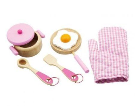 Játék edénykészlet (fából, rózsaszín)