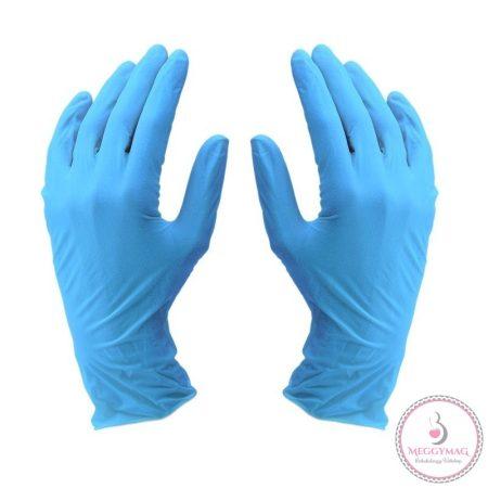 Latexmentes nitril gumikesztyű, L-es 100 db - kék