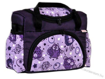 BabyLux mintás pelenka táska- Lila Baglyos