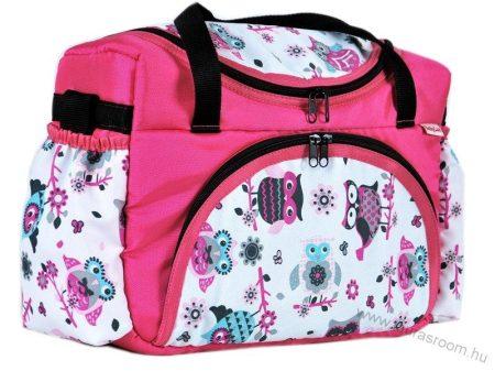BabyLux mintás pelenka táska- Rózsaszín baglyos