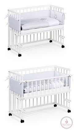 Klups Piccolo Due babaöböl, szülői ágyhoz csatlakozatható kiságy kerekekkel 95x45 - fehér