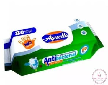 Aquella antibakteriális higiéiniai törlőkendő, kupakos, 80 lapos