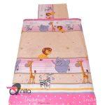 2 részes babaágynemű nagy paplannal /ovis ágynemű/ szafaris rózsaszín
