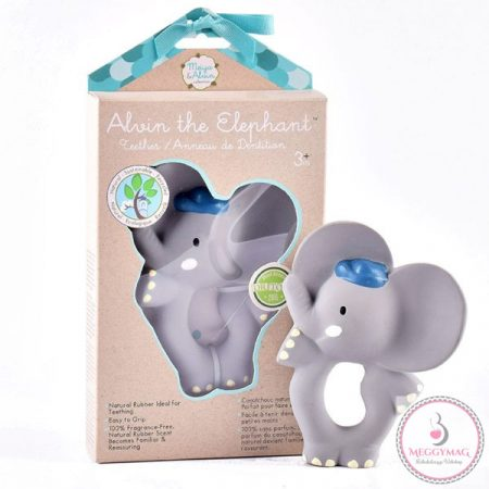 Alvin az Elefánt gumi csörgő játék természetes gumiból